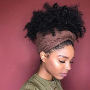 natural curls headwrap updo