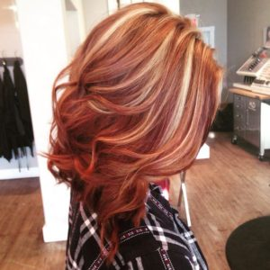 Vibrant Red Hair Blonde Highlights