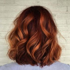 auburn red hair with copper balayage