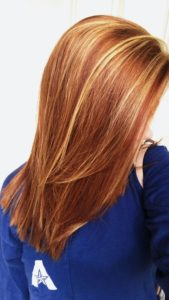 copper red hair blonde highlights