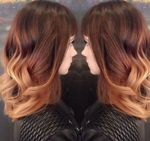 red and strawberry blonde ombre