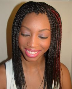 red highlight individual braids