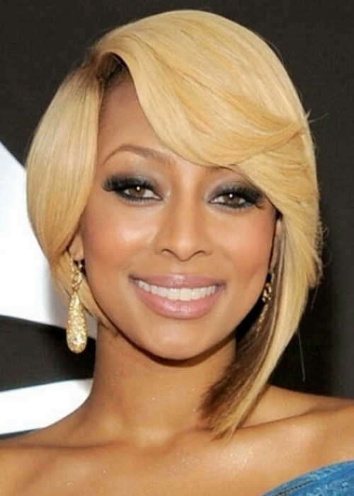 Here we have Keri Hilson rocking her infamous blonde and a super cute quck  weave bob. This bob is cut slightly below her ear on one side and longer  and A ... 19ed7ff50ec4