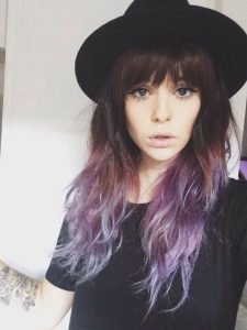 Long Bangs With Purple Ombre