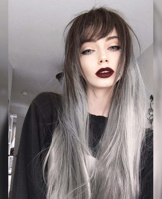 Planted Firmly On The Gothic Side Of Emo Style This Ultra Long Hair Features An Incredible Mixture Dark Brown Roots And Wispy Silver Ombre These Bangs