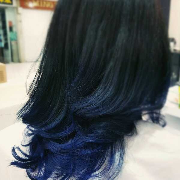 Blue Black Hair Tips And Styles | Dark Blue hair Dye Styles - Part 3