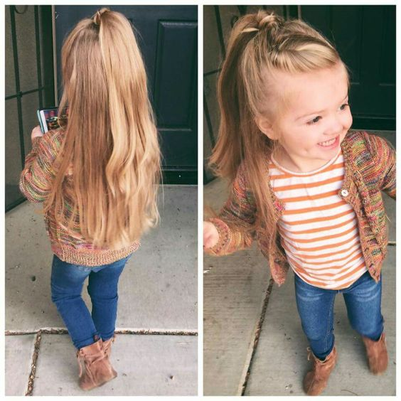 8Twisted Half Up Style Little Girl Hairstyle. For Girls With Ultra Long Hair  ...