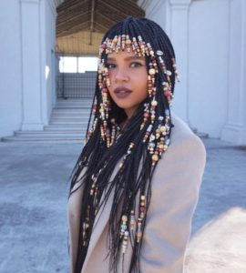 beaded braids with bangs