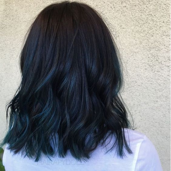 Blue Black Hair Tips And Styles | Dark Blue hair Dye Styles