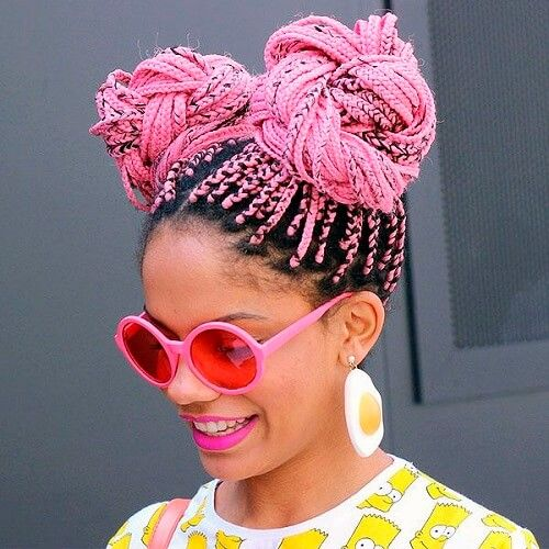 7braided E Buns Box Braids With Color Pink