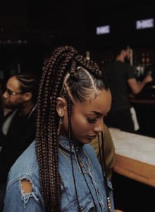 mixed braids pony