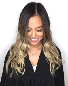 Ashy Brunette with blonde ombre