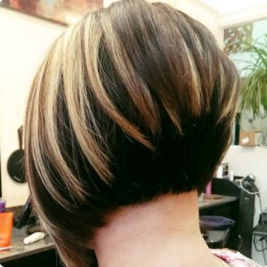 classic stacked bob with highlights