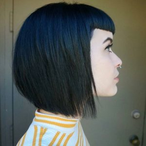 inverted bob with baby bangs