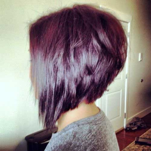 This Burgundy Bob Features A More Dramatic Difference Between Lengths In The Front And Back Choppier Technique Is Used Throughout
