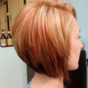 red and blonde stacked bob