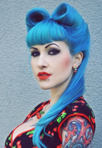 rolled style with bettie bangs