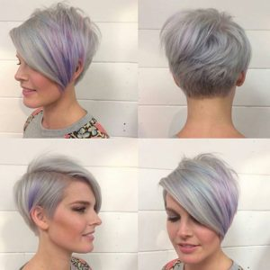 silvery stacked pixie bob