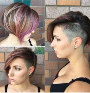 stacked bob with side shave