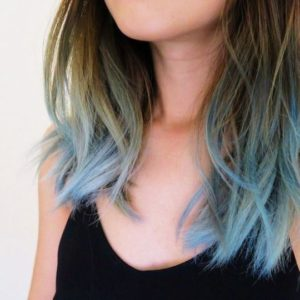 Light Pastel Blue Dip Dye