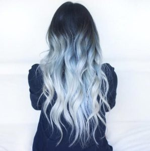 Long Icy Blue Ombre