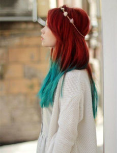blue ombre on red hair