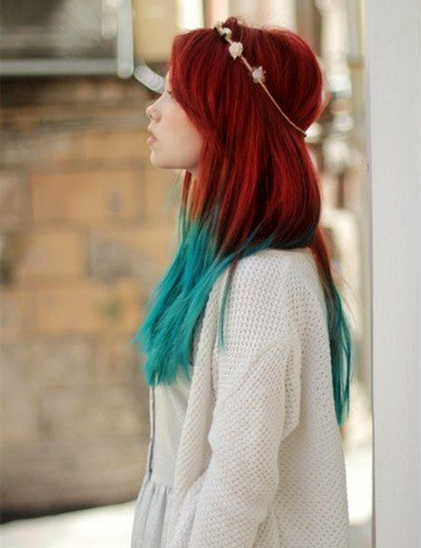 Blue Dye Over Natural Red Hair