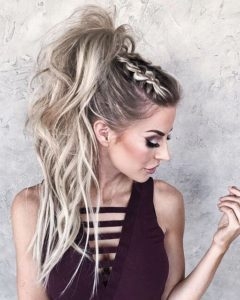 braided bangs ponytail