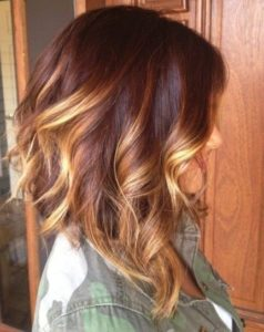 Auburn With Golden Blonde Balayage