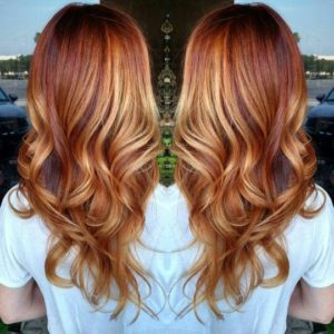 Intense Copper With Blonde Balayage