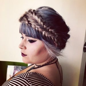 Pastel Crown Braid With Bangs