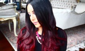 Glamorous Red On Black Ombre