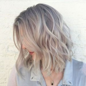 Grey blonde lob