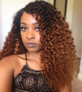 Natural brown ombre curls