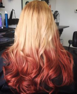 Rusty Red on blonde ombre