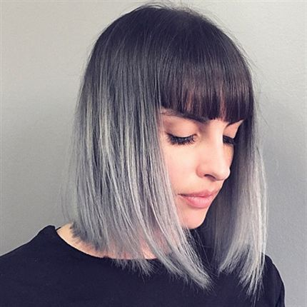 With Natural Black Roots And A High Steely Grey Ombre This Color Palette Feels Like Perfect Match For Long Bob Haircut Bangs