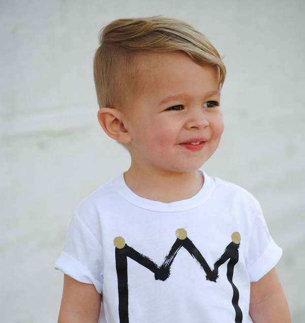 Toddler Boy' Messy Haircut. Some little boys can pull off this hairstyle just right. It has a cute little messy edge to it. The hair is tapered at the neck and around the ears, but is longer at the top.