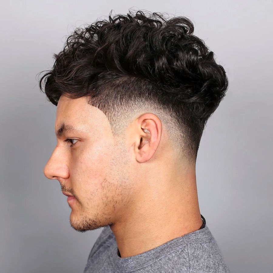3Curls On Top Drop Fade