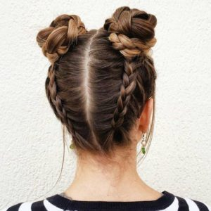 dutch braid double buns