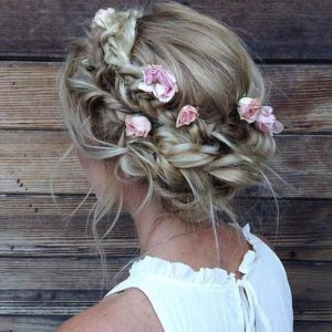 halo braids with rose accessories