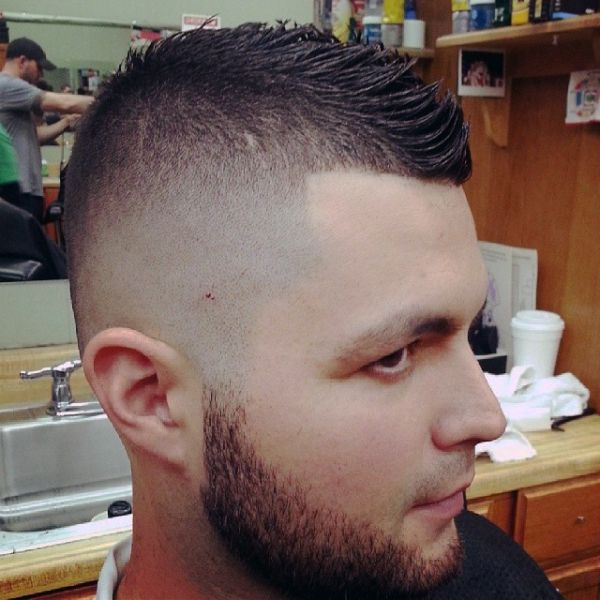 Faux Hawk Fade With Beard
