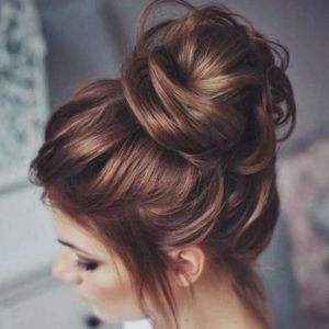 messy high bun hair