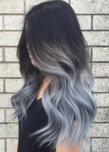 silvery blue ombre