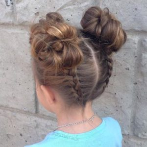 Back Dutch Braid Double Buns