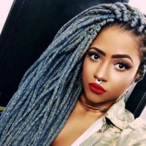 Blue Grey Box Braids