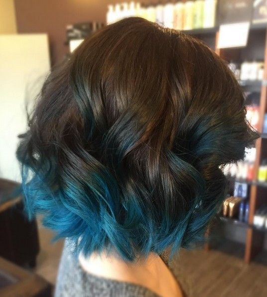 This Ocean Blue Ombre Creates A Deep And Earthy Palette When Combined With Dark Brown Hair Making It The Perfect Color Style For Fall Or Winter Wear