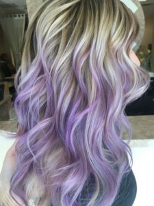Periwinkle And Blonde Balayage