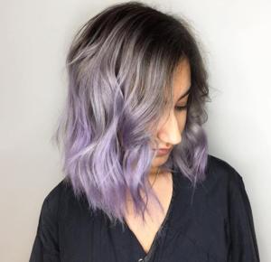 Silvery Lavender Balayage