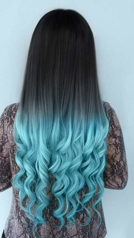 Long Black Hair Gets A Fun Vibrant And Incredibly Chic Dose Of Color With This Tiffany Blue Shade Ombre You Ll Especially Love The Way