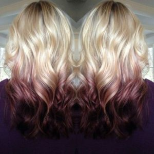 blonde with maroon balayge